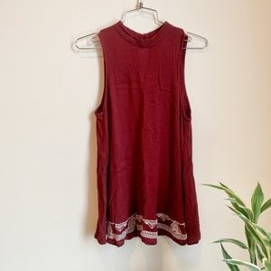 3/$25 Mossimo Maroon Embroidered Mock Tank Top